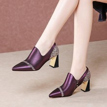 MLJUESE 2020 women pumps autumn spring soft sheepskin pointed toe crystal purple color high heels lady shoes size 42 party dress