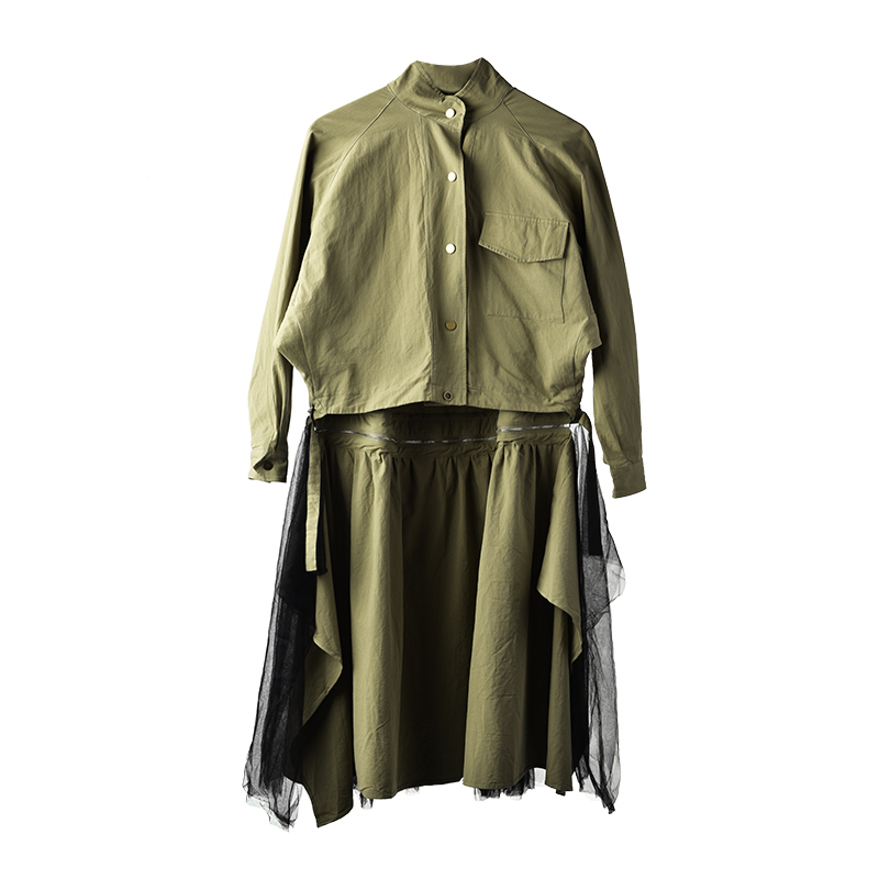 EAM 2019 New Spring Tide Army Green Removable Loose Coat Gauze Split Joint Skirt Three
