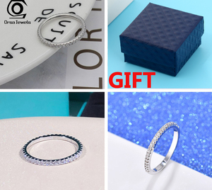 Image 3 - ORSA JEWELS 925 srebro pierścionki kobiety klasyczne okrągłe pełne Pave AAA sześcienne cyrkon obrączka pierścionek zaręczynowy dla dziewczyn SR63