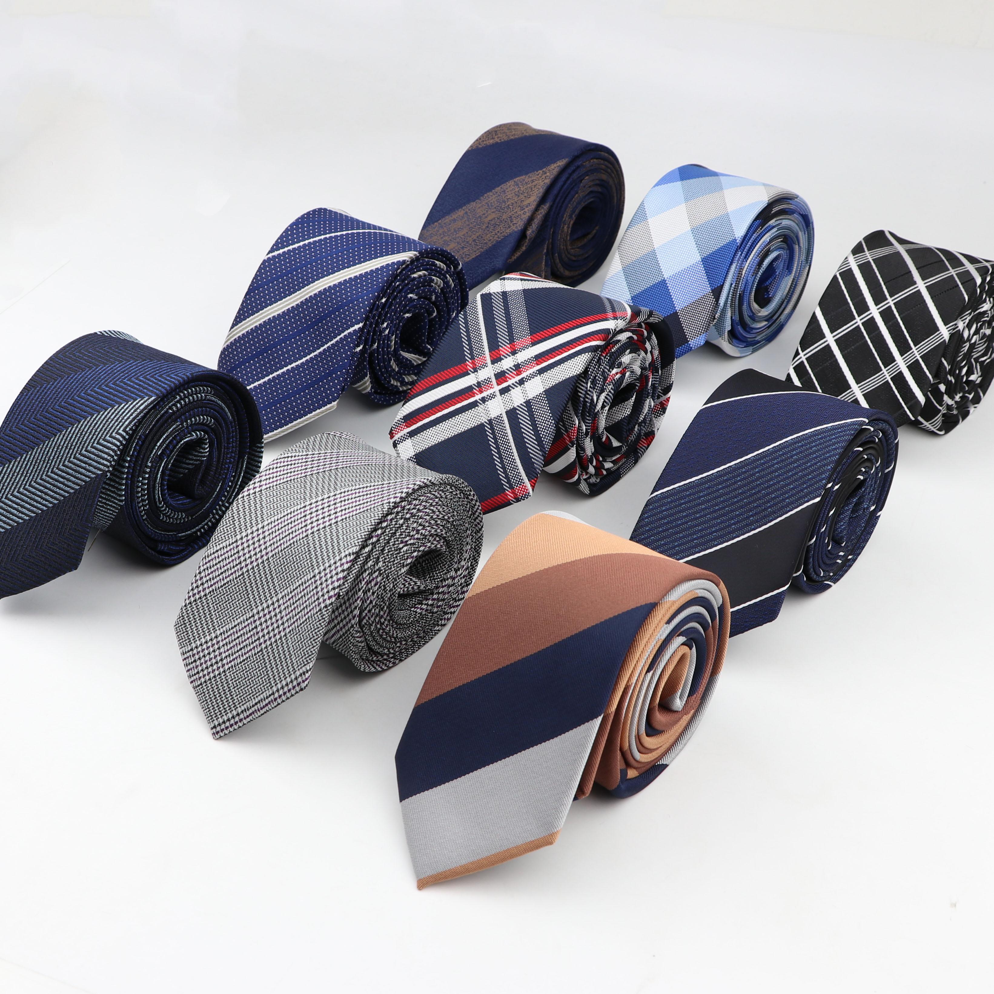 Men Business Tie 6-7cm Width Striped Plaid Designer Jacquard Wedding Necktie Narrow Classic Ties 1200 Needles Polyester Neckwear