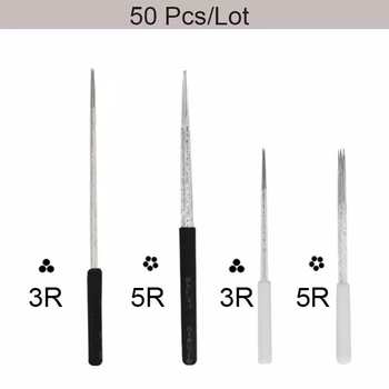 50pcs/lot 3R 5R Round Microblading Needles Eyebrow Circular Tattoo Needle for Tatoo Pen Permanent Makeup fog Shading Blades microblading needles eyebrow tattoo needle for microneedling pen permanent makeup fog shading needle microblading round needles