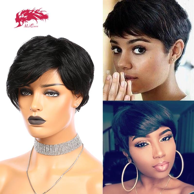 Pixie Cut Straight Short Bob Wigs Natural Black Ali Queen Hair Brazilian Remy Human Hair Wig With Bangs Full Machine Wig
