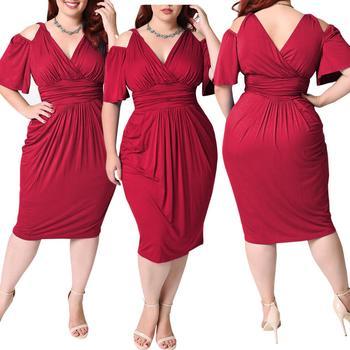 Summer Sexy Midi Dress For Fat Women Plus Size Vintage 4XL 5XL V Neck