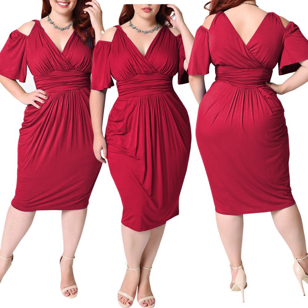 2020 Summer Sexy Dress For Fat Female Plus Size Vintage Dress 4XL 5XL Women Blue Deep V Neck Hollow Out Tight Slim Midi Dress