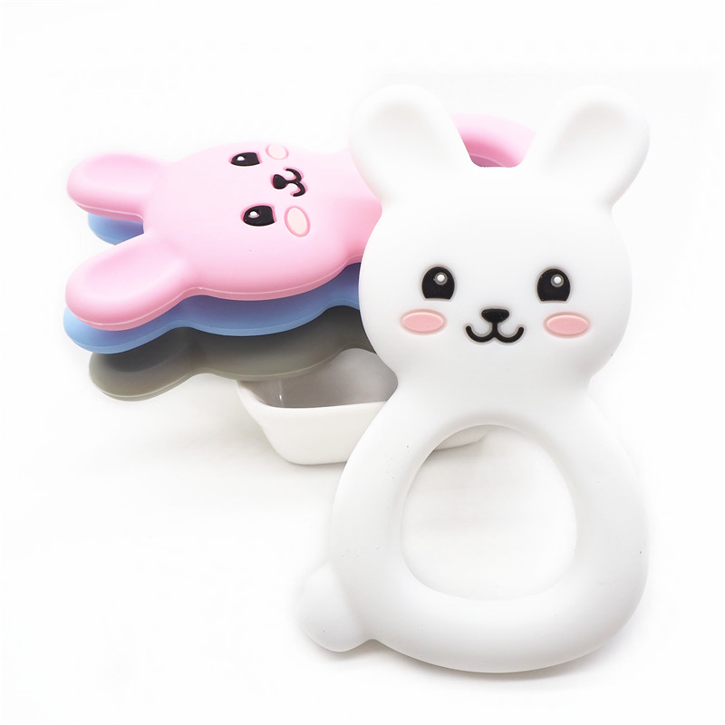 Chenkai 1PC Silicone Bunny Teether DIY Baby Shower Chewing Pendant Nursing Sensory Rabbit Teething Pacifier Dummy Toy Gfit