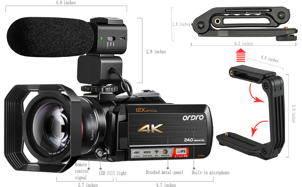 ORDRO видеокамера 4K видеокамера профессиональная ORDRO AC5 12X оптический зум fimadora Wifi Vlogging камера