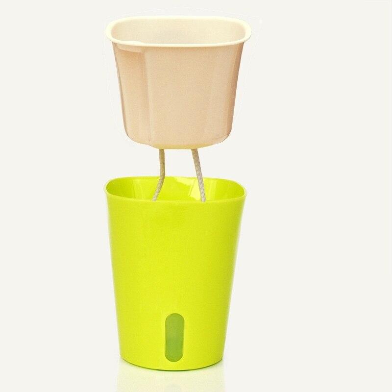 Convenience Self Watering Home Garden Flower Pot Plastic Planter Metal Decorations Pots Easy Cultivation No Plant