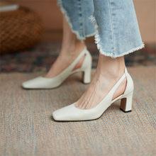 Primavera 2021 nova mulher sapatos de couro de vaca praça toe grosso salto alto (6.5cm) bombas femininas