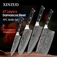 XINZUO 4 PCS Kitchen Knives Chef Set Japanese Damascus Stainless Steel New designed Knife Cleaver Nakiri Knife Ebony Handle