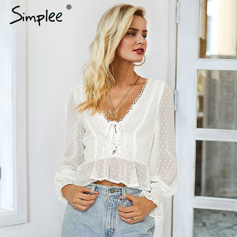 Simplee Lace Up V-neck Women Blouse Shirt Dot Print Female Chiffon White Blouse Shirt Puff Sleeve Ladies Ruffled Peplum Tops