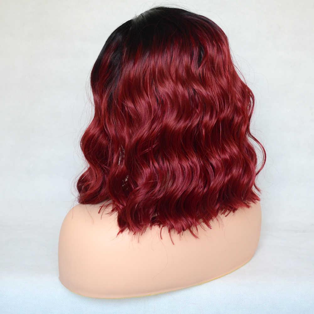Vogue rainha vermelha com raiz de cabelo preto solto encaracolado peruca dianteira do laço sintético diário vestindo para mulher