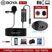 Micrófono BOYA por M1 Pro 6m Clip-Solapa de Audio Mini 3,5mm Collar condensador micrófono de solapa para Smartphone cámara DSLR de Audio