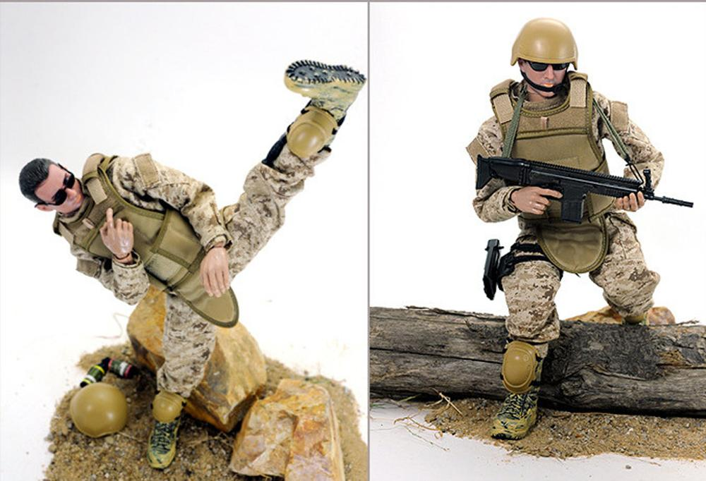 """1//6 Scale 12/"""" Army Combat Desert ACU Soldier Action Figure Toys"""