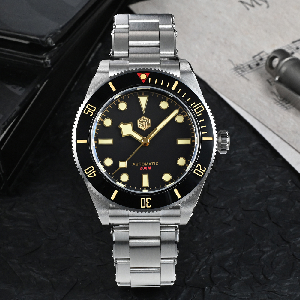 San Martin Men Watch 40mm Diver BB58 Retro Luxury Water Ghost PT5000 SW200 Rivet Bracelet Sapphire 20Bar Waterproof Luminous 2