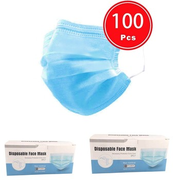 100Pcs/lot One Time Face Cover Mask Industrial 3Ply Ear Loop Reusable Washable Breathable For Outdoor Sports Essential