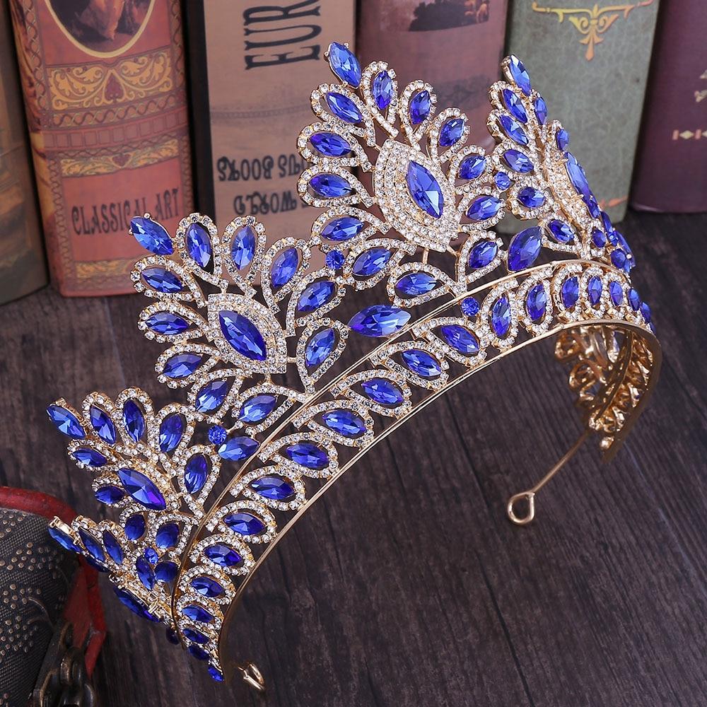 Baroque Rose Gold Pink Big Rhinestone Bridal Tiaras Crown Champagne Crystal Diadem Veil Tiara Headbands Wedding Hair Accessories