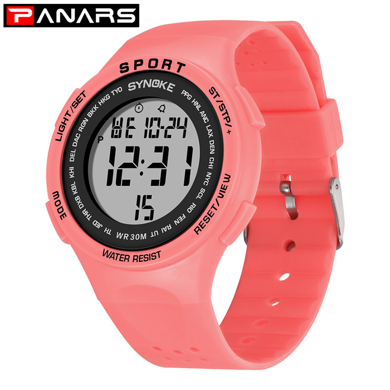 PANARS Sports Watch For Boys Girls Student Children LED Digital Wristwatch 30M Waterproof Kids Watch Gift Night Light Alarm 2019