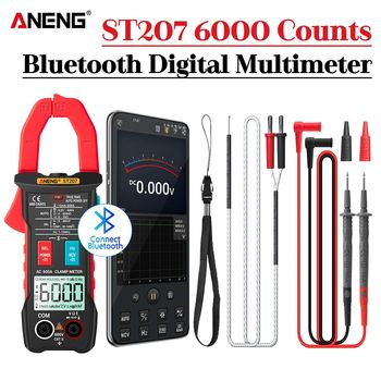 ANENG ST207 Digital Newly Upgraded Bluetooth Clamp Meter 6000 Count DC/AC True RMS Multimeter Hz Capacitance Ohm  Voltage Tester aneng st184 digital multimeter clamp meter true rms 6000 counts professional measuring testers ac dc voltage ac current ohm