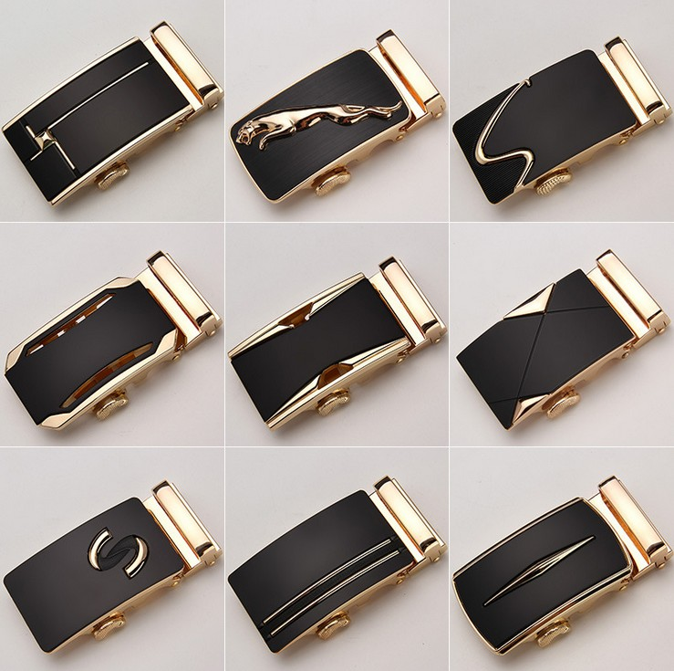 Fashion Luxury Glod Alloy Automatic Pu Belt Buckles For Men's LeatherWaist Belts For Men Pants Buckles 3.5cm Ratchet Accessories