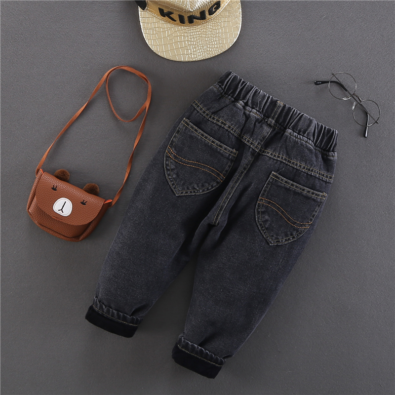 2020 Winter Baby Boys Warm Jeans New Casual Thick Velvet Denim Pants for Boys 2-6 Years Children's Thickening Jeans Trousers 2