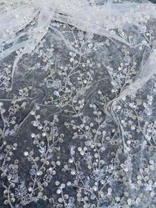 Image 1 - Ultimo vestito da cerimonia nuziale tessuto di paillettes perline fiore bianco del merletto del ricamo tessuto bianco 3D maglia del merletto Francese Africano del merletto 5 yards
