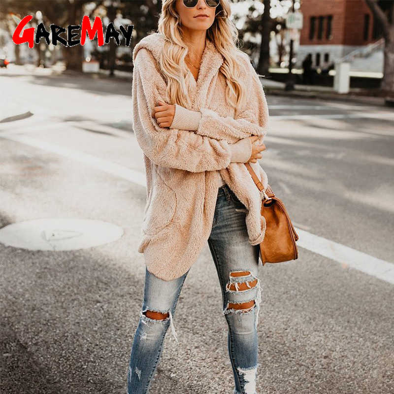 Casual Faux Fur Hoodie Coat Teddy Bear Khaki polar Fluffy Jacket Otoño Invierno mujer Cardigan Coat manga larga de felpa sobretodo