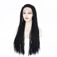 Brown Black Box Braided Lace Front Wigs with BabyHair Synthetic Fiber Wigs Thick Full Hand Synthetic Hair Micro Havana Twist Wig