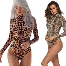 Costume Sexy Bodysuit Fantasy Animal Leopard Top Polo-Neck Unitard Long-Sleeve Turtle