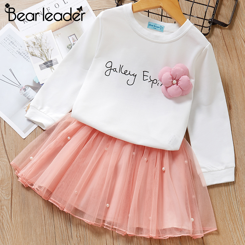 Bear Leader Girls Dress 2019 New Autumn Casual Style Cartoon Pink Long Sleeve Wool Bow Design For Princess Dress Girls Clothes