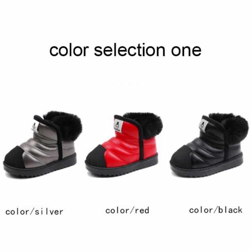 Зимние теплые ботинки для маленьких мальчиков и девочек; Детские уличные ботинки; водонепроницаемые Нескользящие Детские Плюшевые ботинки; обувь для младенцев