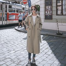 цена WOTWOY Autumn Causal Fashion Double Breasted Trench Mid-Calf Straight Sashes Buttons Pockets Women  Trench Coat Long Women Coat онлайн в 2017 году