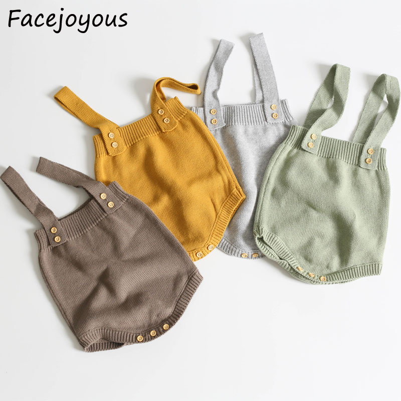 Newborn Baby Knitted Rompers Cute Overalls Baby Girls Clothes Infant Kids Knitwear Boys Sleeveless Overalls Jumpsuit 0-24months