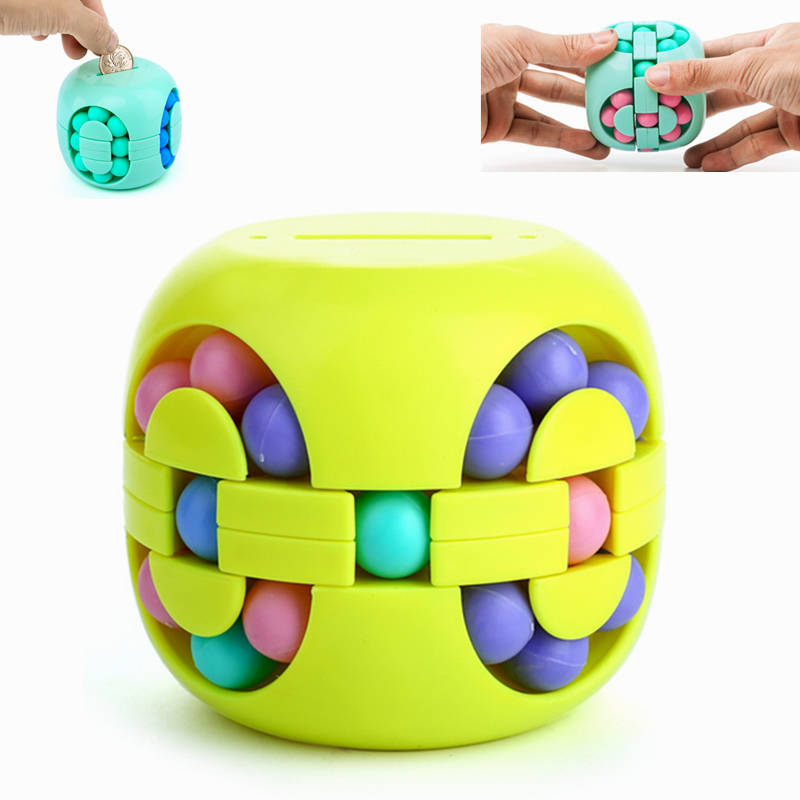 Stress Relief Cube Piggy Bank Antistress Toys For Children Development Adult Fidget Spinner Spinning Bead Kids Educational Gift