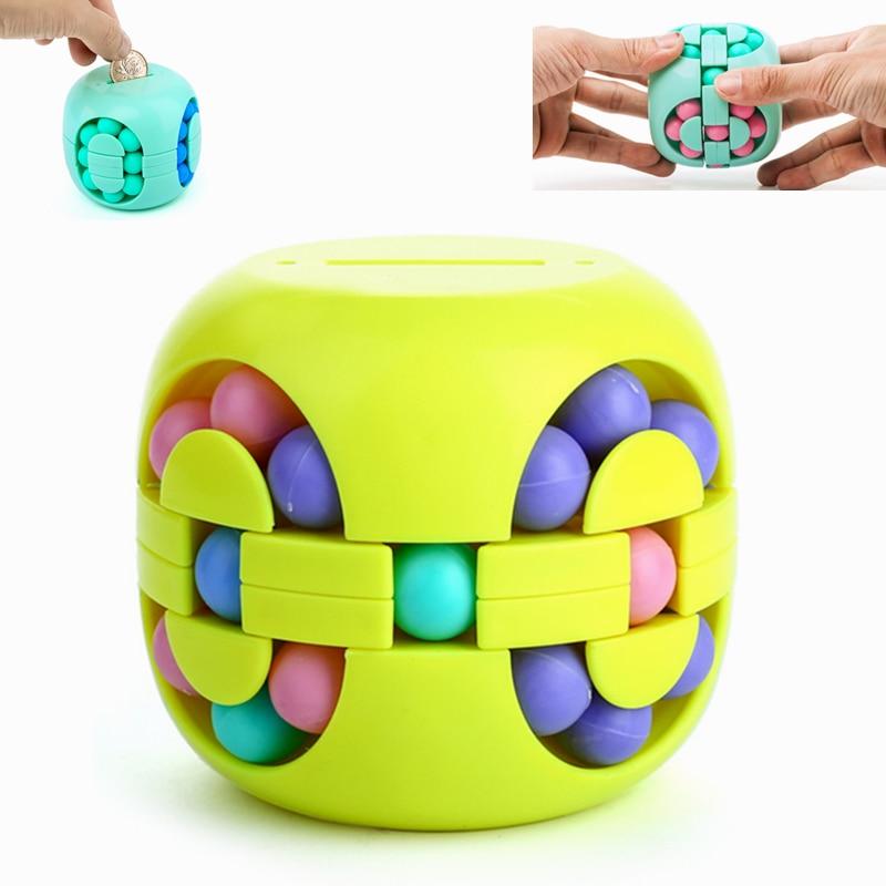 Stress Relief Cube Piggy Bank Antistress Toys for Children Development Adult Fidget Spinner Spinning Bead Kids Educational Gift