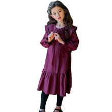 цены 2019 Autumn Girls Dress Long Sleeve Baby Princess Party Frocks Cute Bow Ruffles Children Loose Maxi Dress Kids Clothes 4-16 Yrs