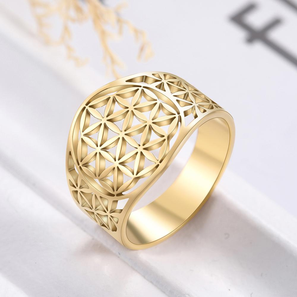 Skyrim Elegant Flower of Life Rings Viking Vintage Stainless Steel Golden Women Ring Wholesale Anniversary Valentine's Day Gift