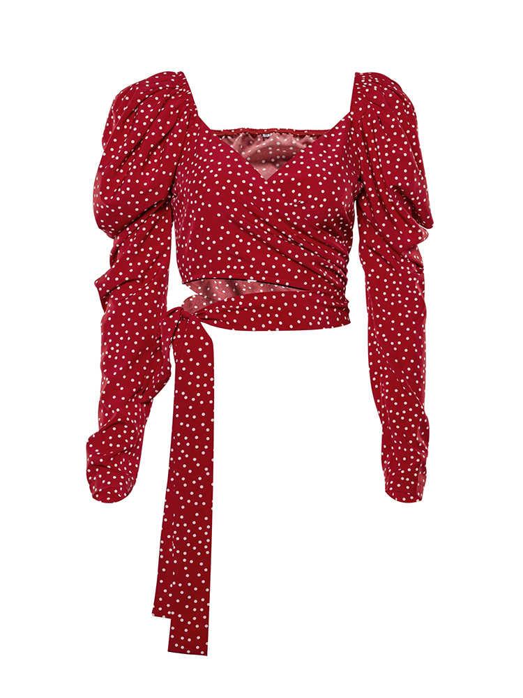 OOTN Vintage à pois femmes bouffantes vêtement enveloppant à manches longues haut élégant 2020 à lacets rouge haut court Blouse Sexy dos nu Chic femmes chemises