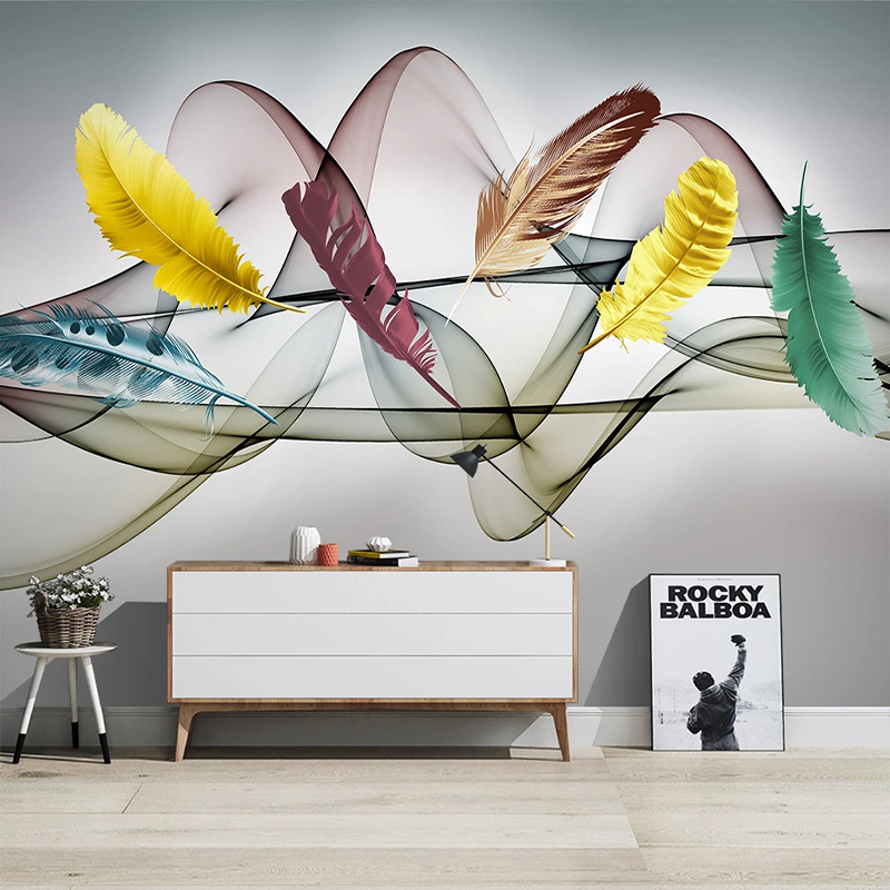 Custom 3D Photo Wallpaper Hand Painted Colored Feather Abstract Smoke Living Room Sofa TV Background Pictures Art Wall Painting