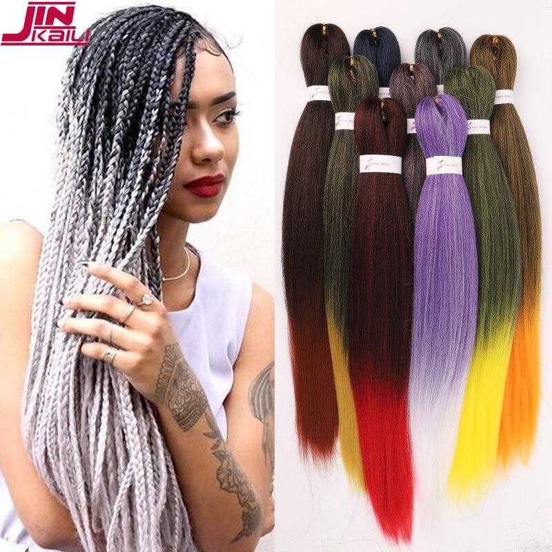 JINKAILI синтетические волосы для женщин, высокая температура, Джамбо косички, волосы для наращивания, белый, розовый, чистый, светлый, зеленый