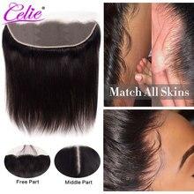 Celie Hair HD кружевная Фронтальная застежка 13x4 HD фронтальная прозрачная застежка из человеческих волос бразильские прямые волосы 5x5 HD кружевная застежка