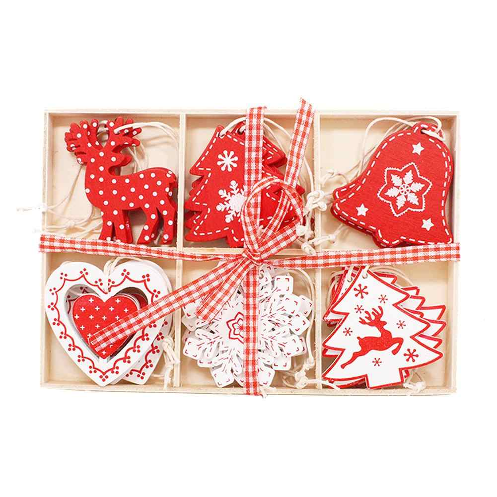 6 Plaid Wooden Box 24pc Ornaments Snowflake Elk Bell Christmas Tree Decoration Crafts DIY Gift Christmas Decorations For Home