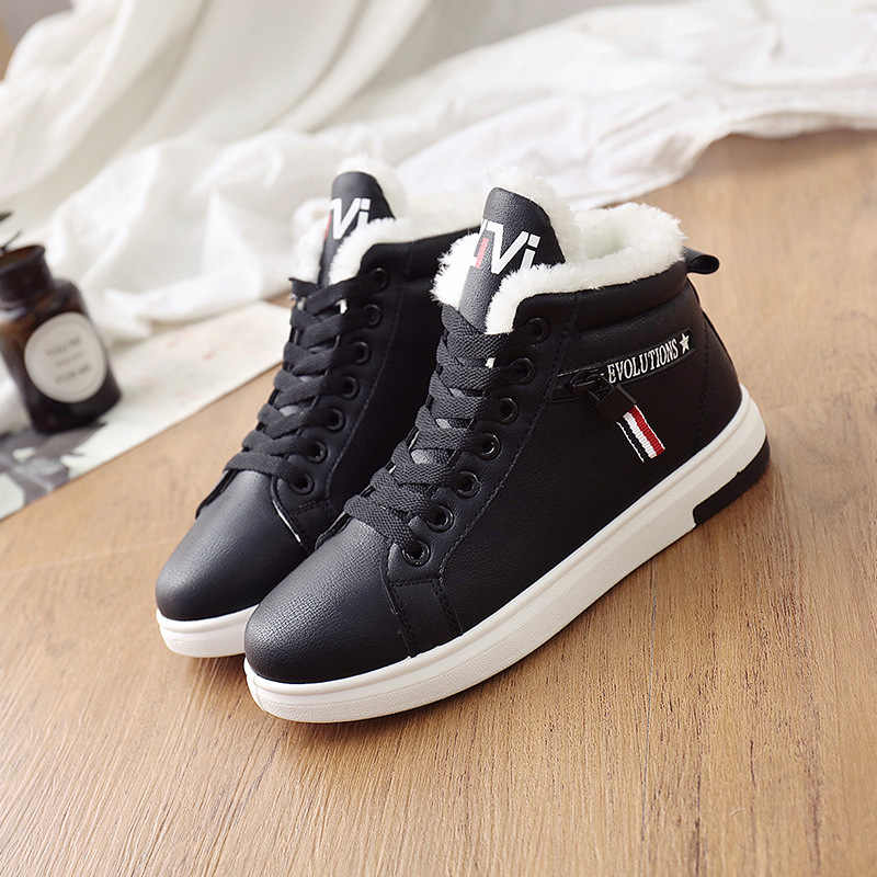 Mùa Đông 2019 Giày Nữ Mắt Cá Chân Giày Ấm PU Sang Trọng Mùa Đông Người Phụ Nữ Giày Sneakers Đế Bằng Phối Ren Nữ Giày Nữ Ngắn ủng