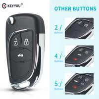 KEYYOU 2/3/4/5 botones modificados Flip plegable mando a distancia funda para Chevrolet Lova Aveo Cruze Camaro funda para llavero sin cortar HU100 Blade