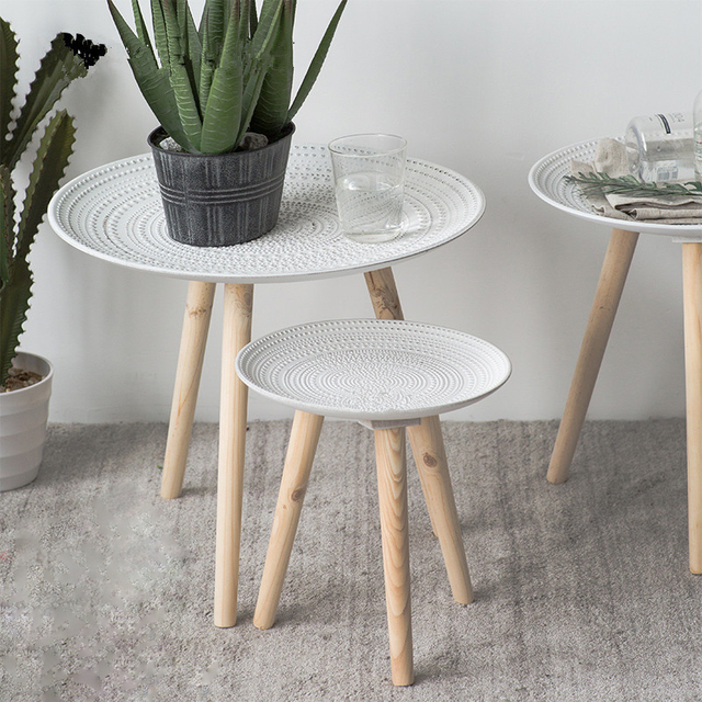 Creative Round Nordic Wood Coffee Table 1