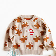 Baby Sweater Christmas Deer Spring Autumn Toddler Baby Cardigan Knitted Infant Boys Girls Sweater Cotton Kids Pullover Clothes(China)