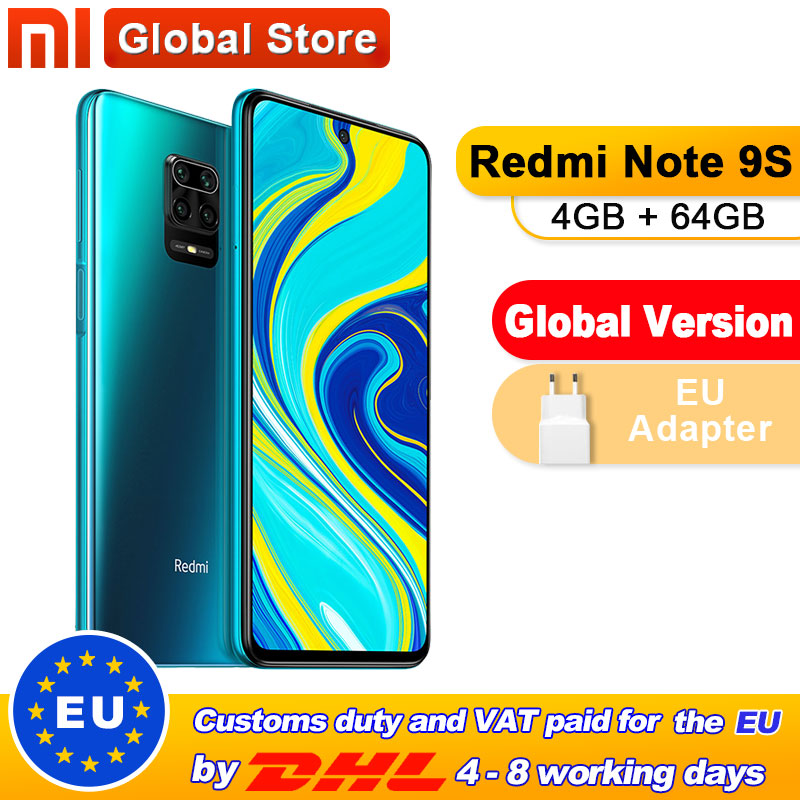Global Version Xiaomi Redmi Note 9S 64GB 4GB smartphone Snapdragon 720G Octa core 5020 mAh 48MP Quad Camera Note 9 S(China)