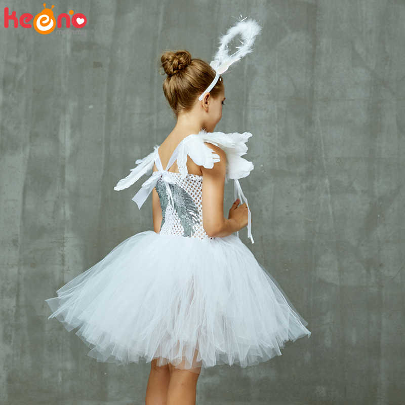 Ex TU Baby Girls Angel Sequin Dress Halo Wings Christmas Fancy Dress Age 1//2 Yrs