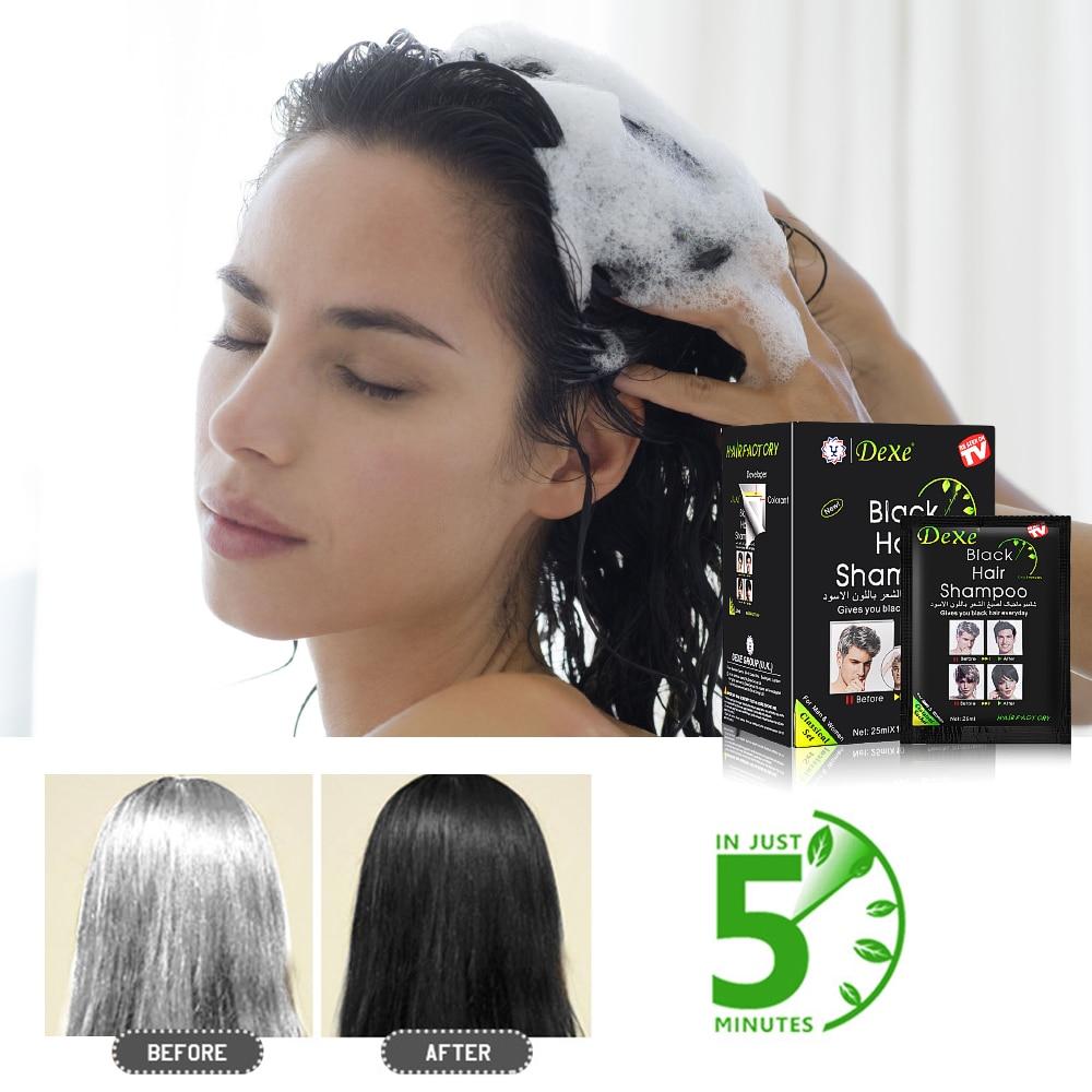 10pcs Instant Black Hair Shampoo Hair Dye 5 Minutes Make Grey White Hair Colored Darkening Black Shinny Hair Styling Dropship 5