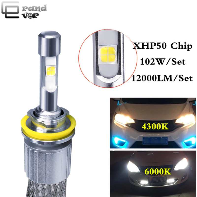 2PCS H4 LED bulbs Canbus 104W 12000LM With XHP50 Chips Auto H7 LED Headlight Lamps 9005 9006 H1 H11 Automobile Fog Front Light image