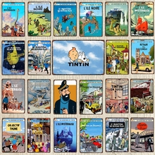 Tintin Cartoon Sign Vintage Tin Sign Christmas Gift Metal Plates For Wall Art Retro Home Kids Room Decor Poster 30X20CM DU-6238A